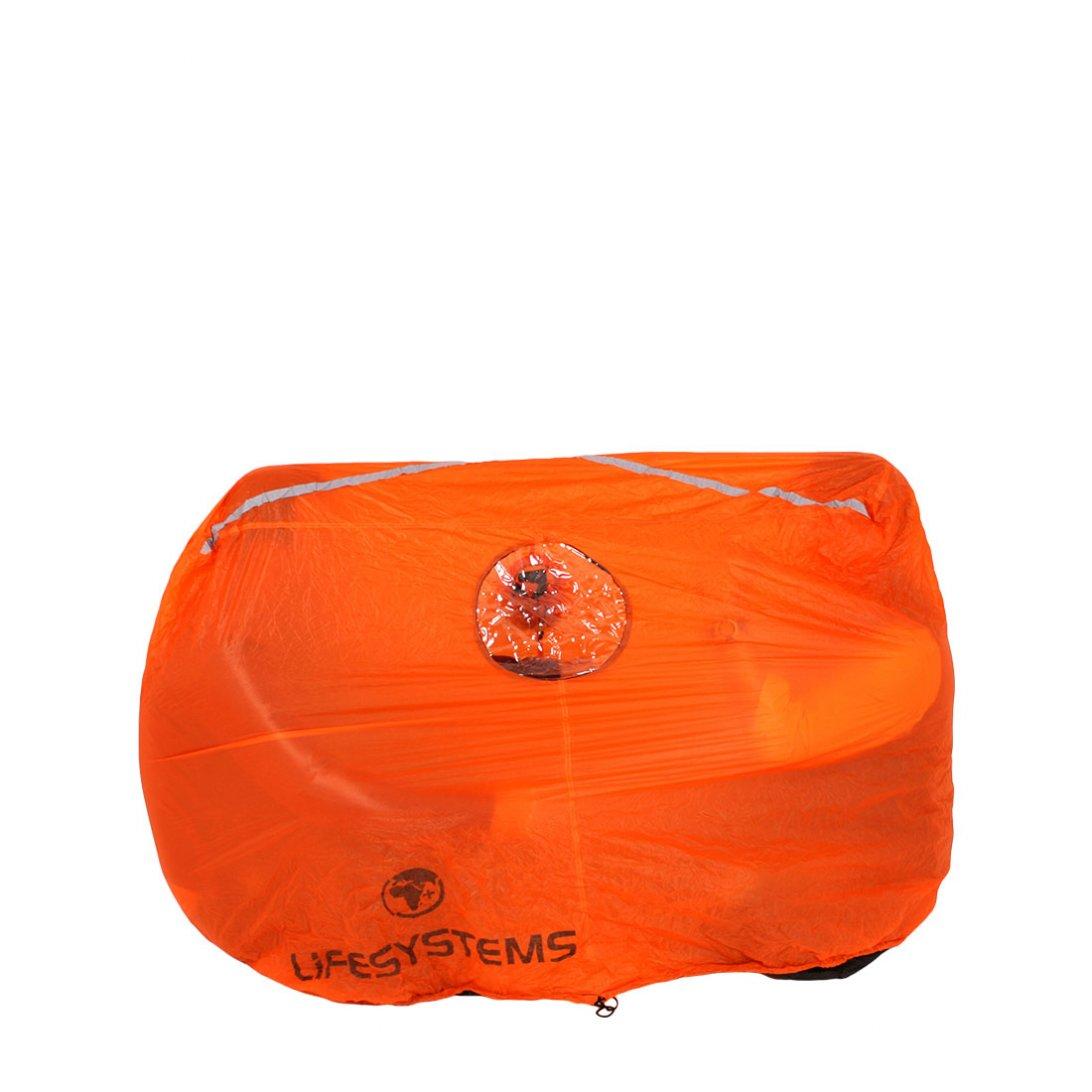 Orange survival shelter