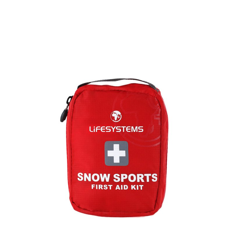 Red snow sports first aid kit